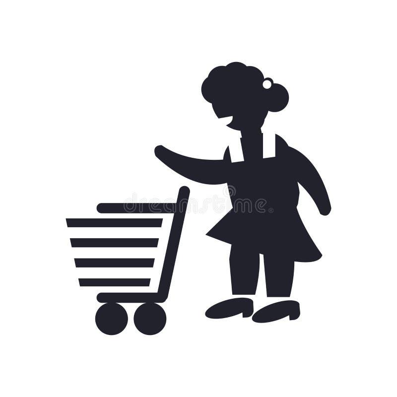 Mujer con la muestra y el símbolo del vector del icono del carro de la compra aislada en el fondo blanco, mujer con concepto del  stock de ilustración