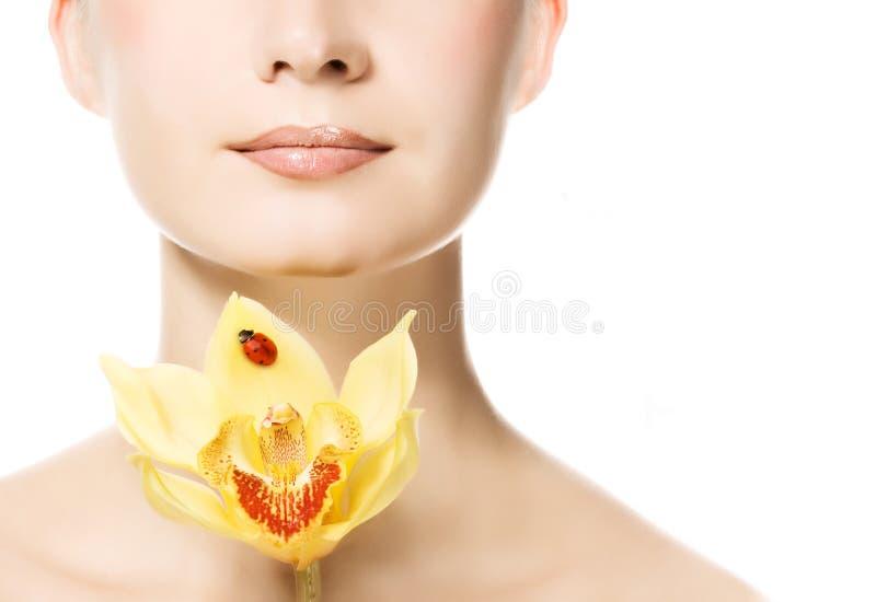 Mujer con la orquídea del yello imagen de archivo libre de regalías