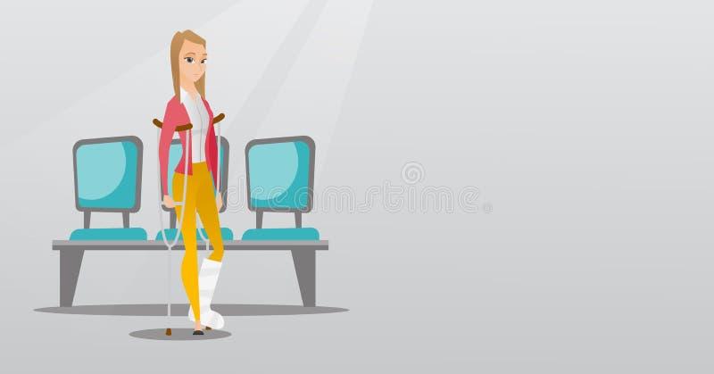 Mujer con la pierna quebrada y las muletas libre illustration