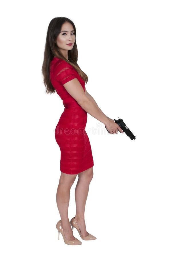 Mujer con la pistola imagen de archivo libre de regalías