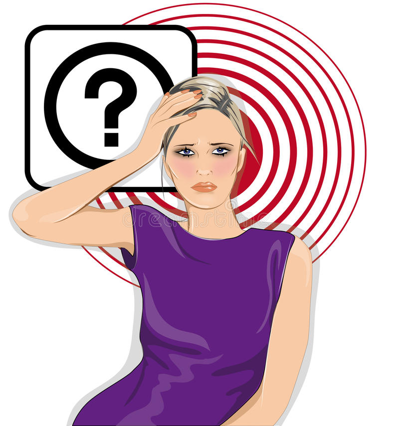 Mujer con la pregunta stock de ilustración