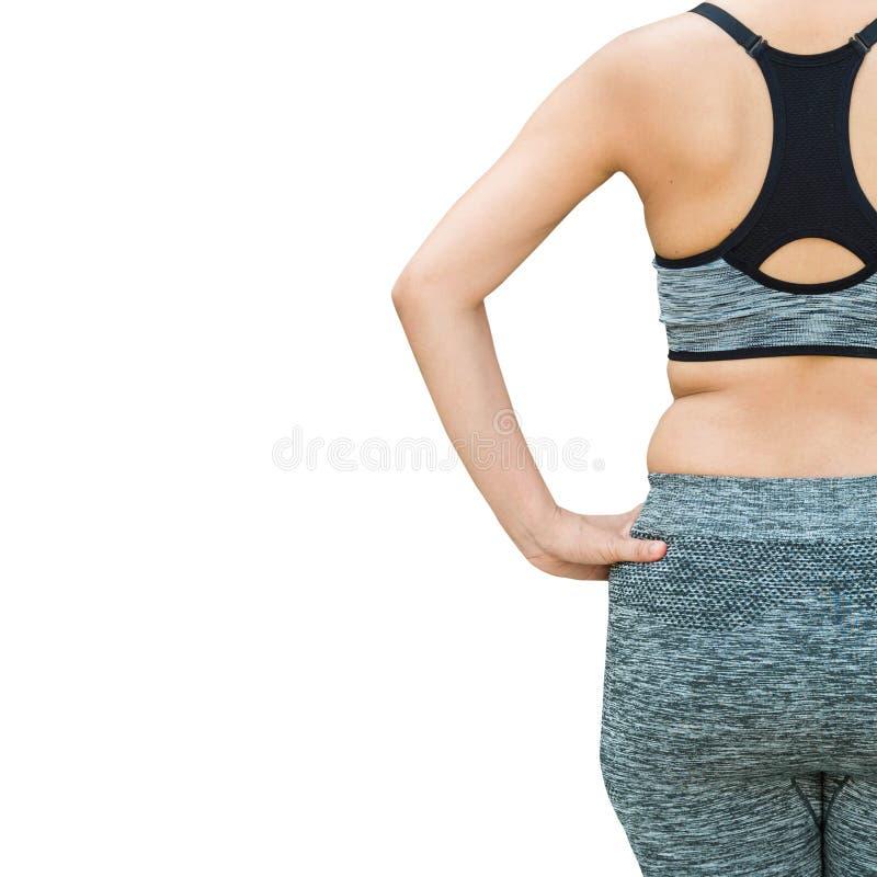 mujer con la ropa de deportes que lleva gorda del vientre que se prepara para la yoga, ISO foto de archivo libre de regalías