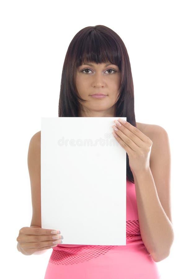 Mujer con la tarjeta. imagen de archivo libre de regalías