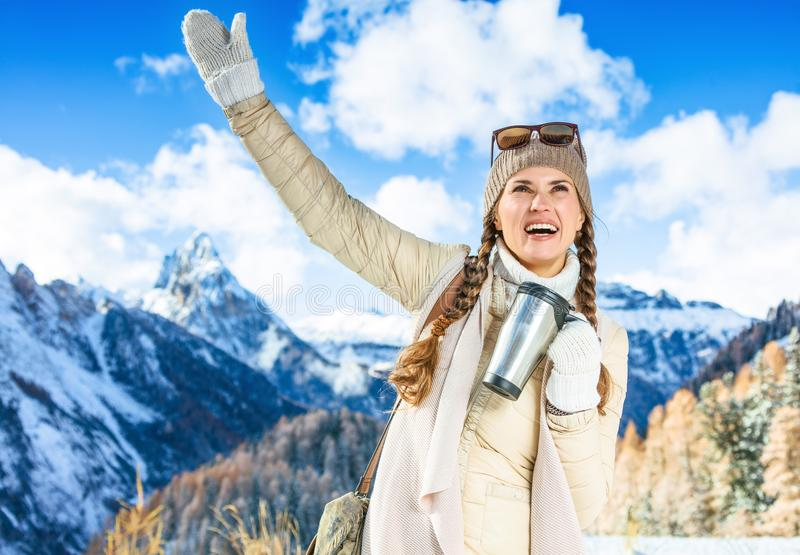 Mujer con la taza del viaje del termo en invierno al aire libre que disfruta imagenes de archivo