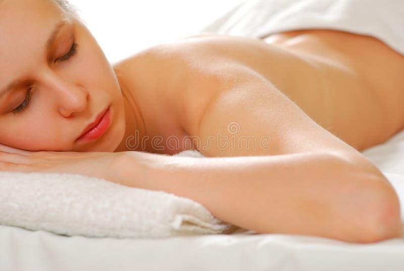 Mujer con la toalla fotografía de archivo