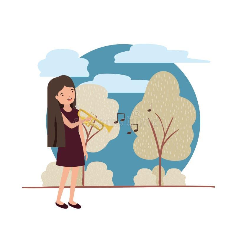 Mujer con la trompeta en carácter del avatar del paisaje ilustración del vector