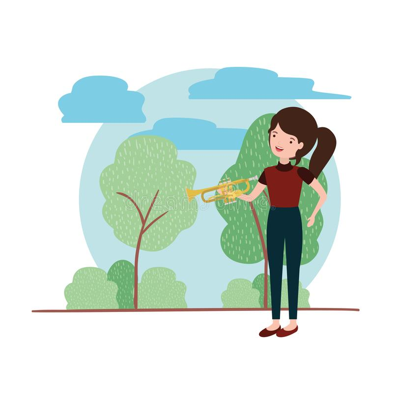 Mujer con la trompeta en carácter del avatar del paisaje libre illustration