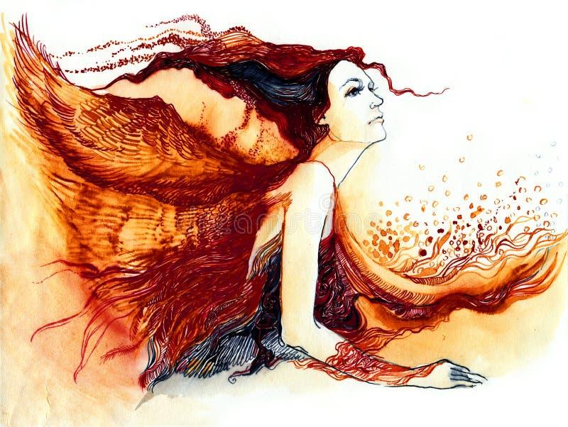 Mujer con las alas stock de ilustración