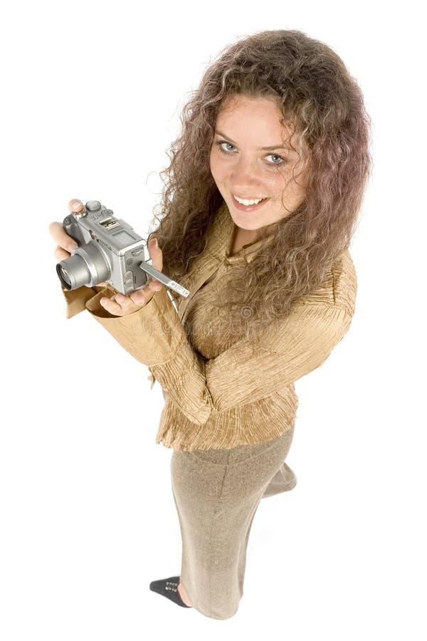 Mujer con las cámaras digitales fotografía de archivo libre de regalías