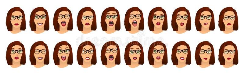 Mujer con las expresiones faciales de los vidrios, gestos, miedo de la decepción del éxtasis de la tristeza del repugnancia de la libre illustration