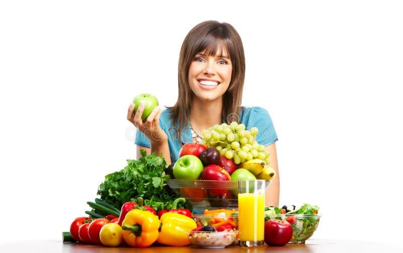 Mujer con las frutas foto de archivo