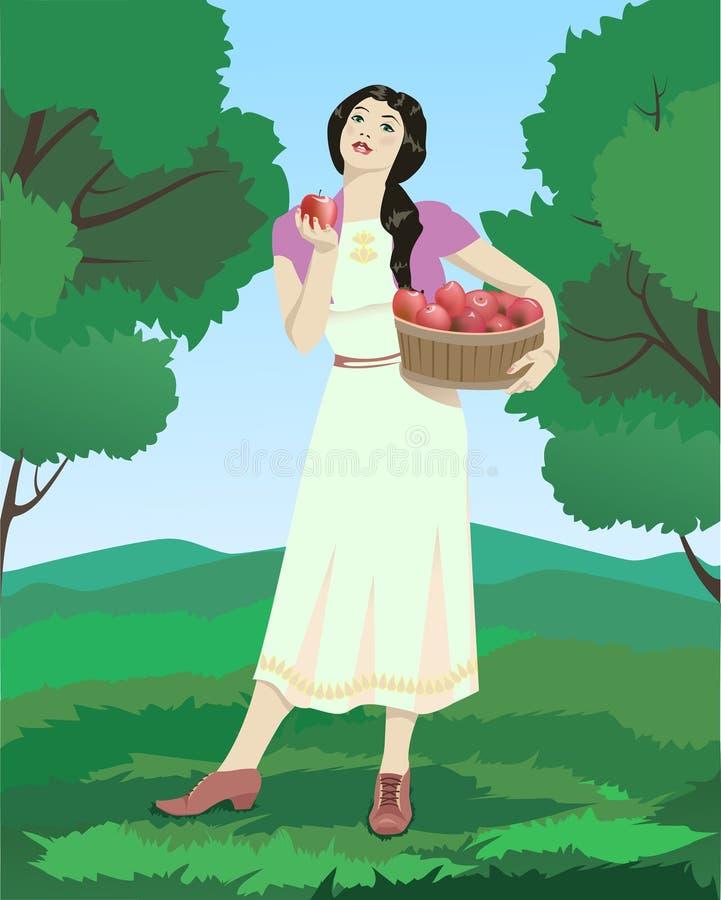 Mujer con las manzanas imagenes de archivo
