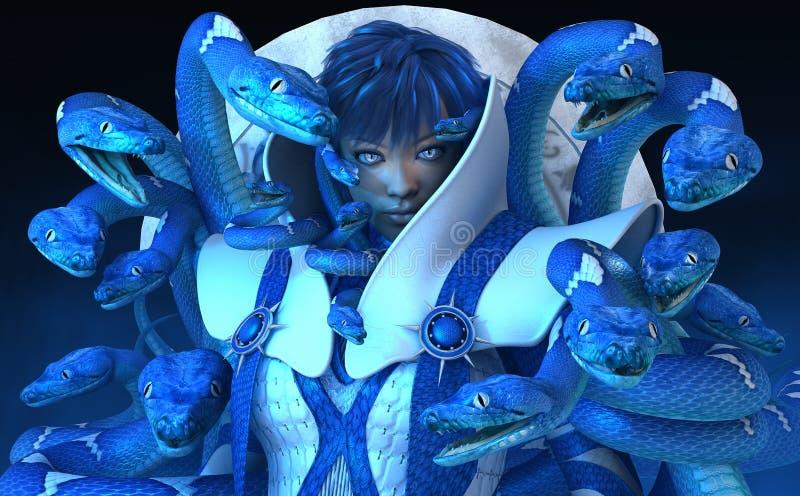 Mujer con las serpientes azules stock de ilustración