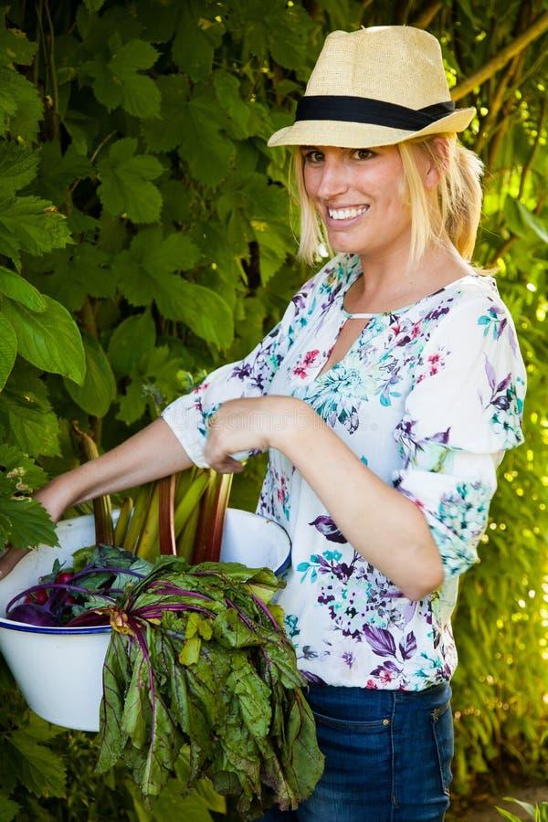 Mujer con las verduras frescas foto de archivo