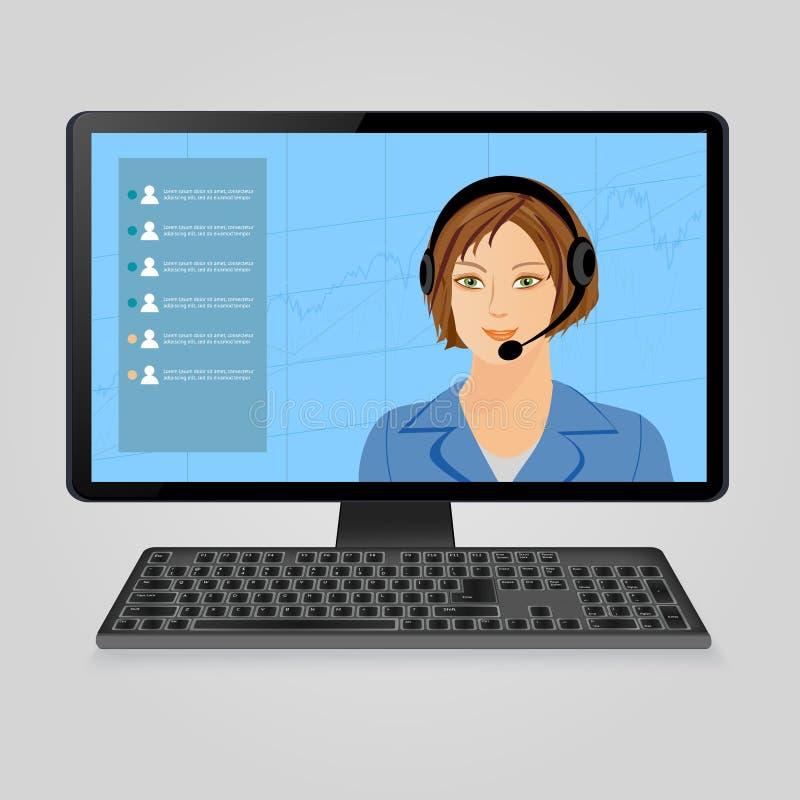 Mujer con los auriculares en la pantalla de monitor de computadora Centro de atención telefónica, ayuda viva del cliente en línea ilustración del vector