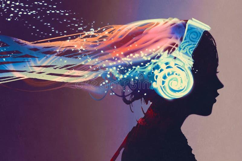 Mujer con los auriculares que brillan intensamente de la magia en fondo oscuro ilustración del vector