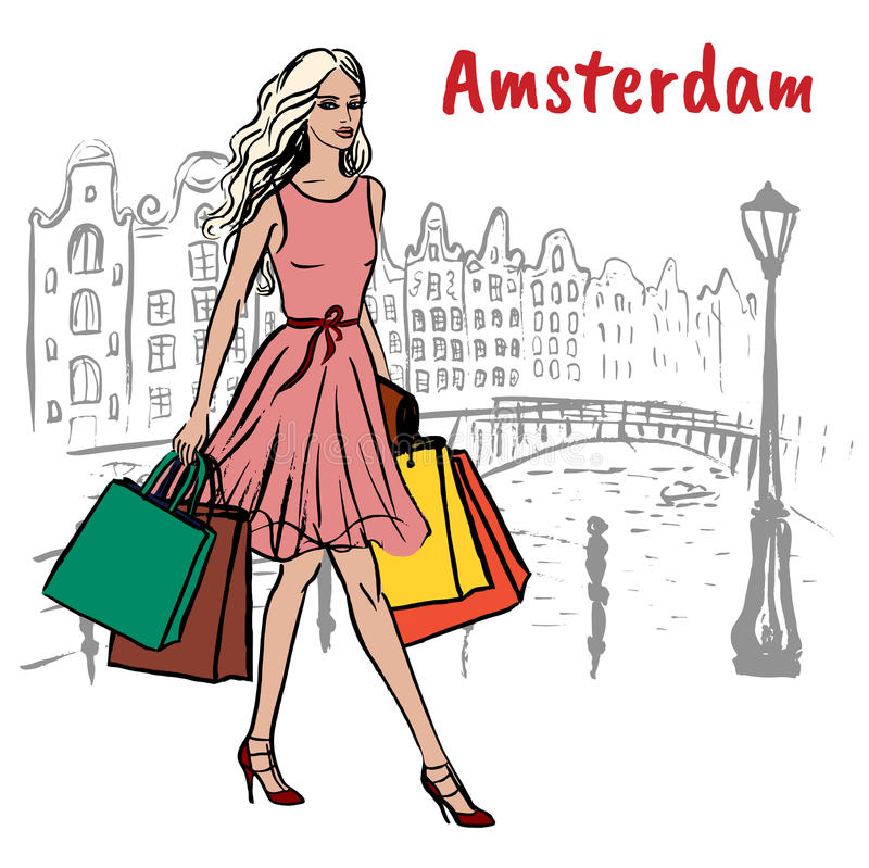 Mujer con los bolsos de compras ilustración del vector