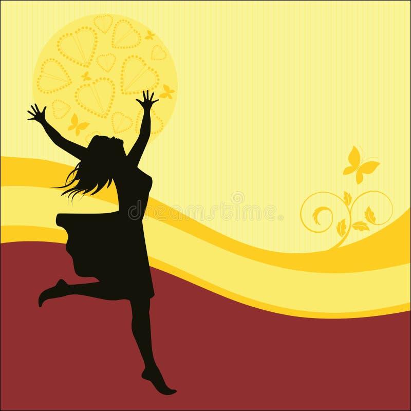 Mujer con los brazos outstretched ilustración del vector