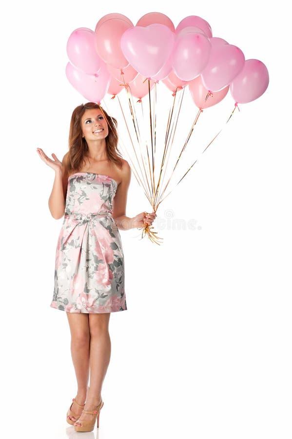 Mujer con los globos imagen de archivo libre de regalías