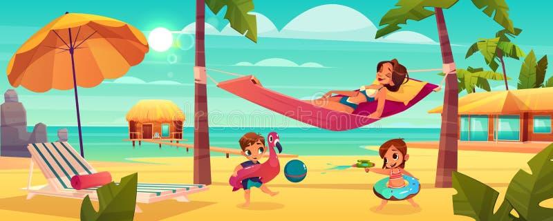 Mujer con los niños que descansan sobre vector de la playa ilustración del vector