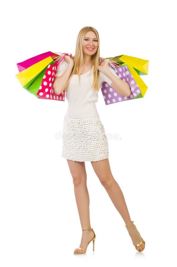 Download Mujer Con Los Panieres Aislados Imagen de archivo - Imagen de atractivo, compra: 41913753