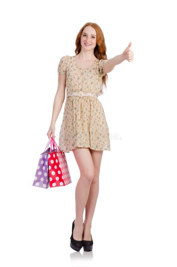 Download Mujer Con Los Panieres Aislados Imagen de archivo - Imagen de bolsos, alegre: 41913835