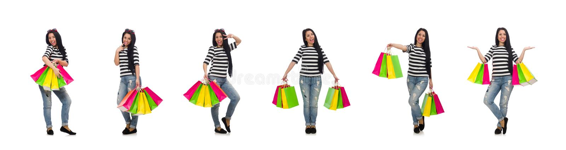 Mujer con los panieres aislados en blanco fotos de archivo libres de regalías