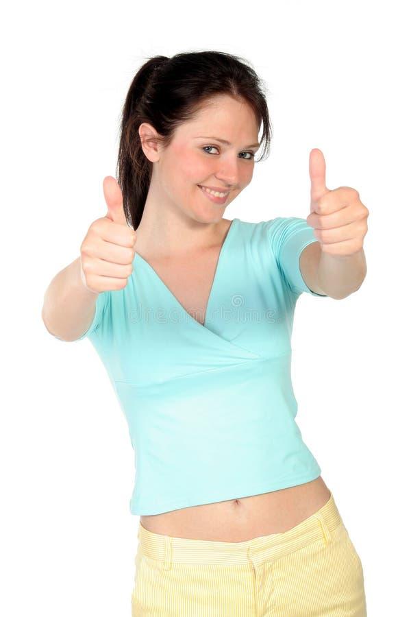Mujer con los pulgares para arriba fotografía de archivo libre de regalías