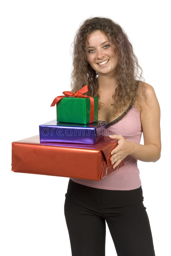 Mujer con los regalos fotografía de archivo libre de regalías