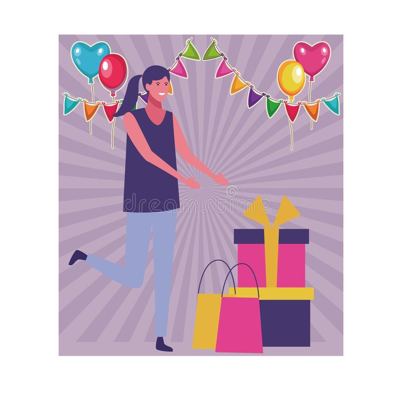 Mujer con los regalos ilustración del vector