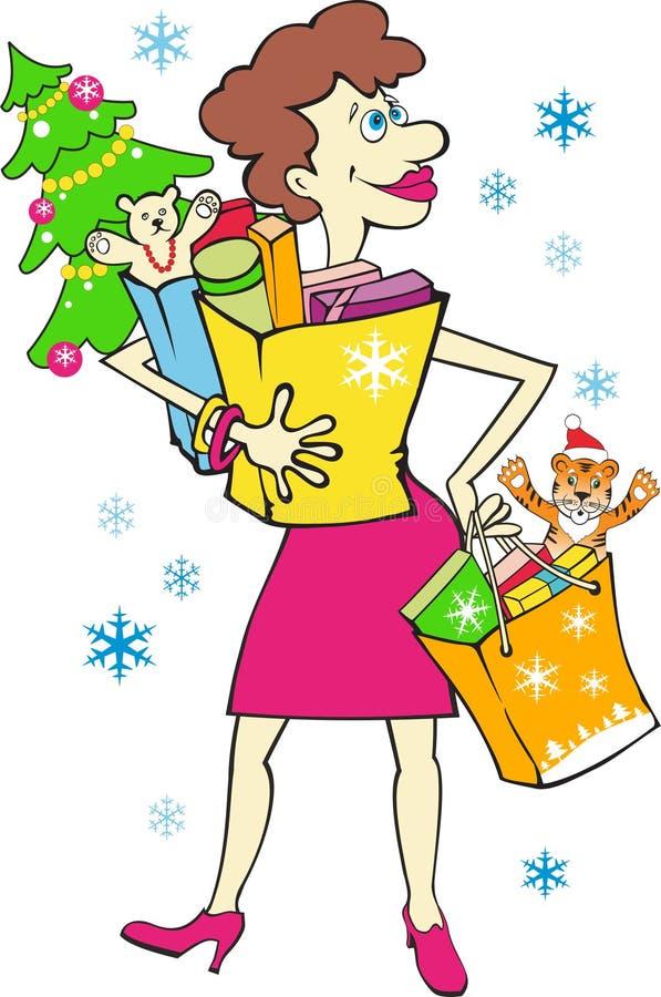 Mujer con los regalos del Año Nuevo stock de ilustración