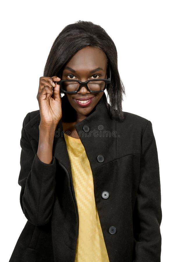 Mujer con los vidrios foto de archivo libre de regalías
