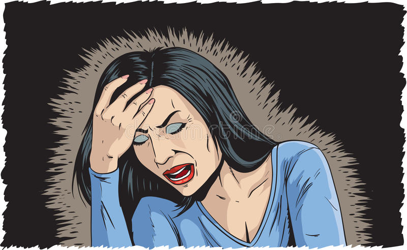 Mujer con mún dolor de cabeza libre illustration