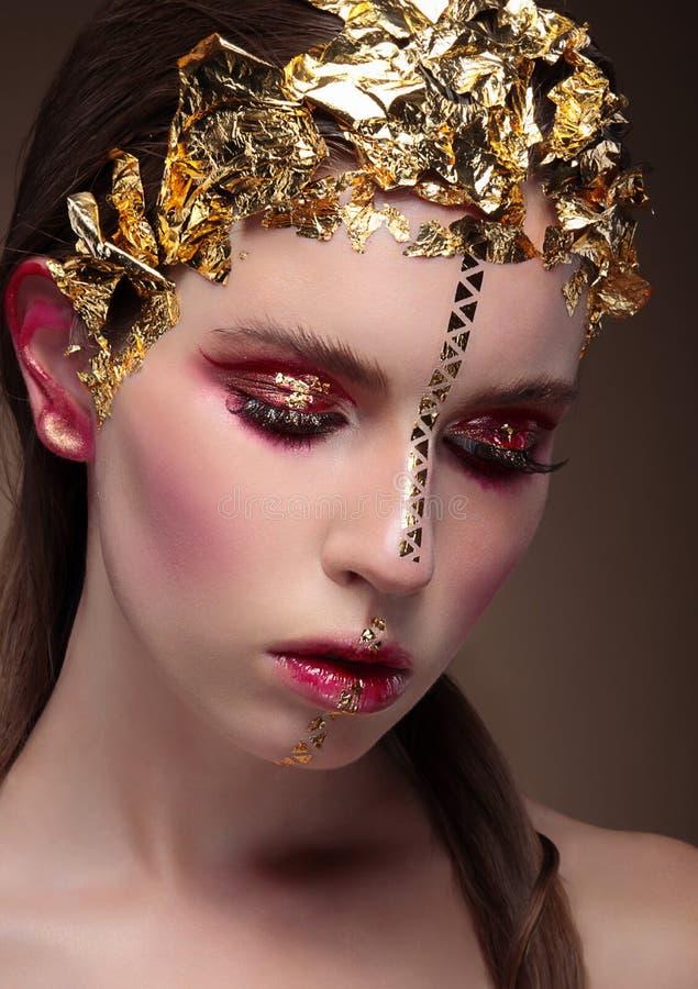 Mujer con maquillaje creativo fotos de archivo libres de regalías