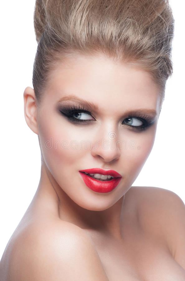 Mujer con maquillaje de la moda imagen de archivo