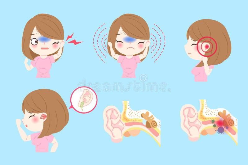 Mujer con otitis media ilustración del vector