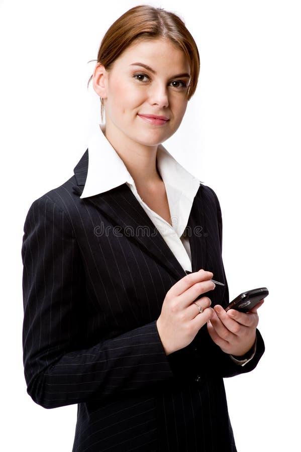 Mujer con PDA fotos de archivo