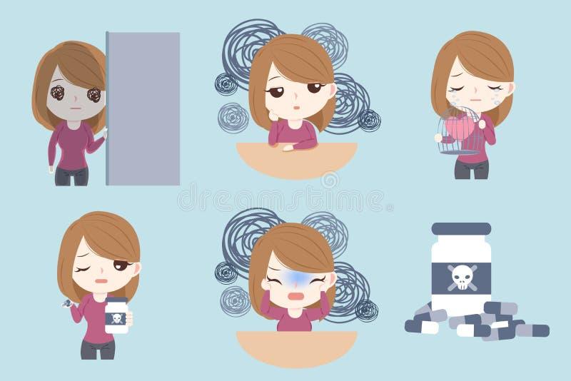 Mujer con problema deprimido ilustración del vector