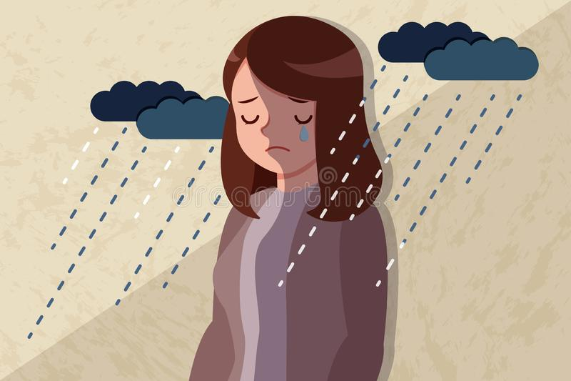 Mujer con problema deprimido libre illustration