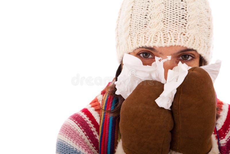 Mujer con síntomas de la gripe foto de archivo libre de regalías