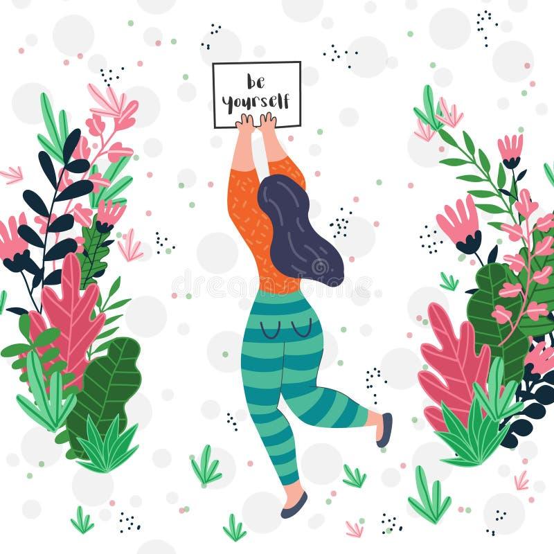 Mujer con ser usted mismo del ejemplo del vector bandera libre illustration