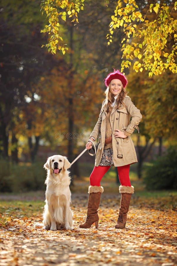 Mujer con su perro del retreiver de Labrador en un parque imagen de archivo libre de regalías