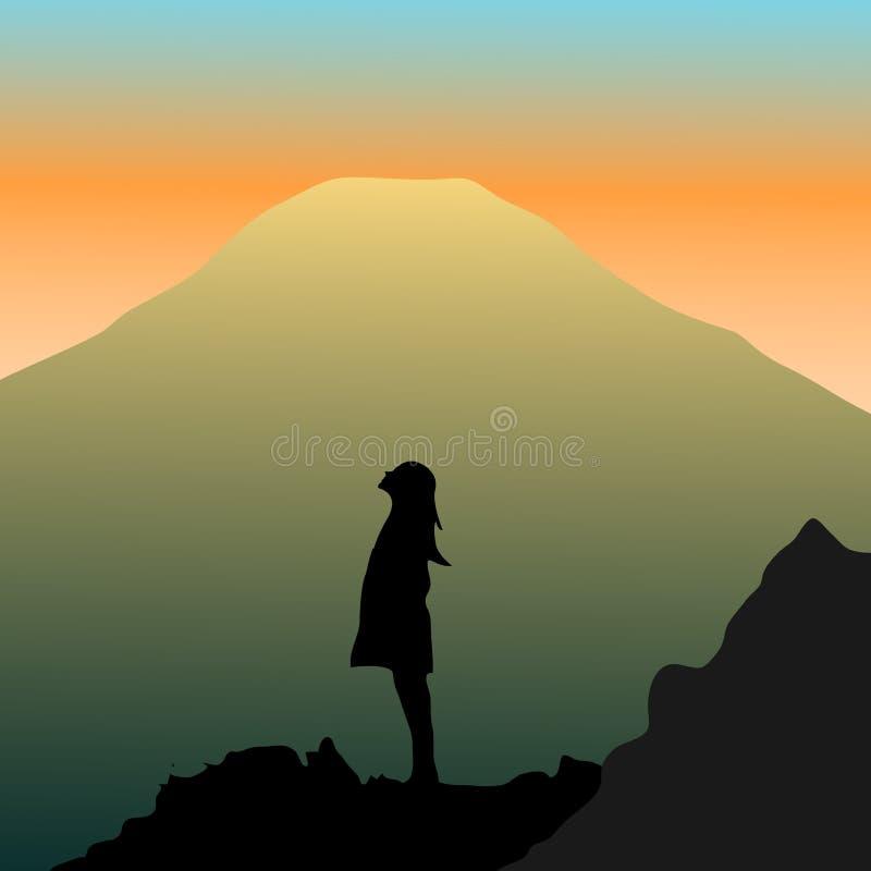 Mujer con sueños grandes ilustración del vector