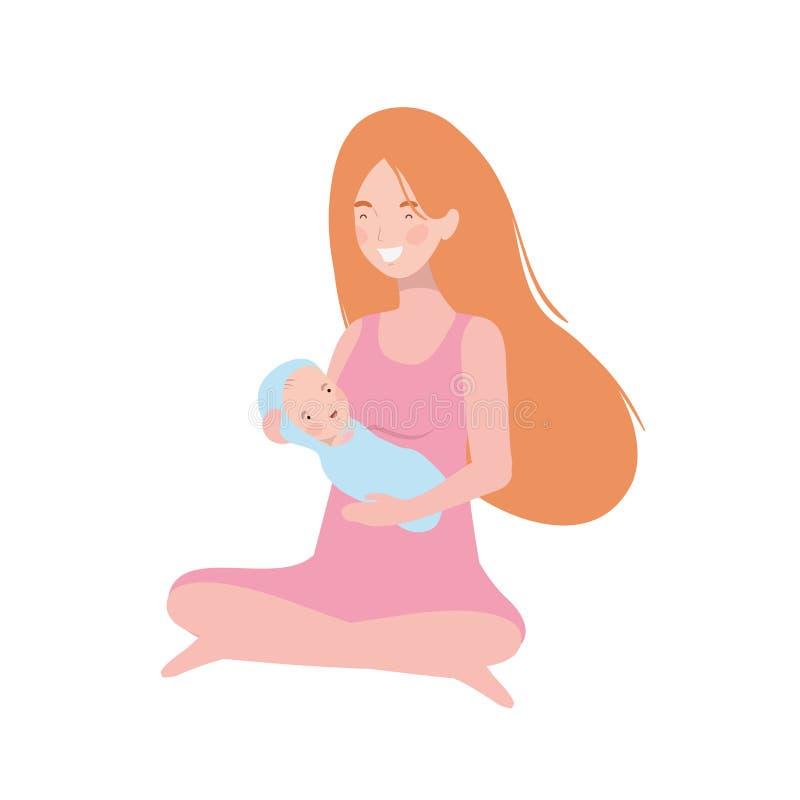 Mujer con un bebé recién nacido en sus brazos stock de ilustración