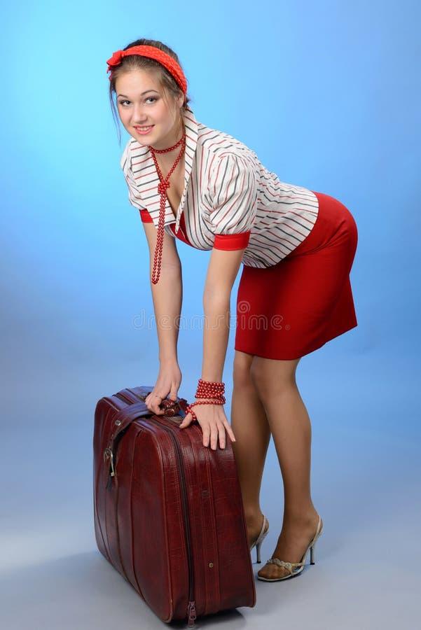 Mujer con un bolso imagen de archivo