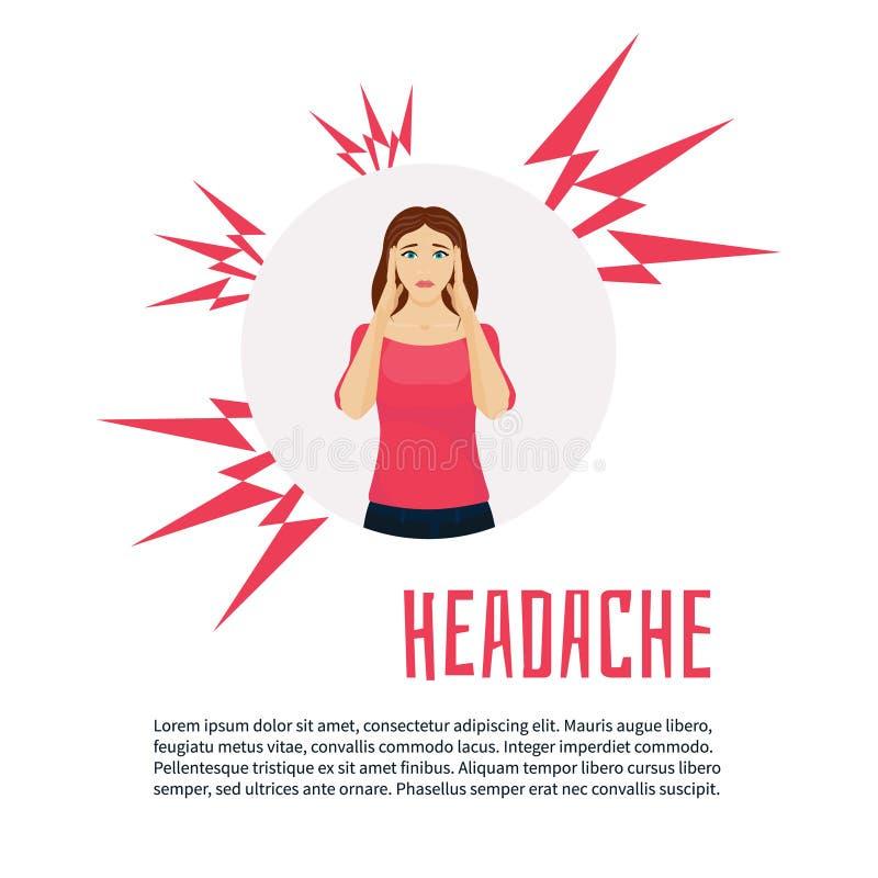 Mujer con un dolor de cabeza stock de ilustración