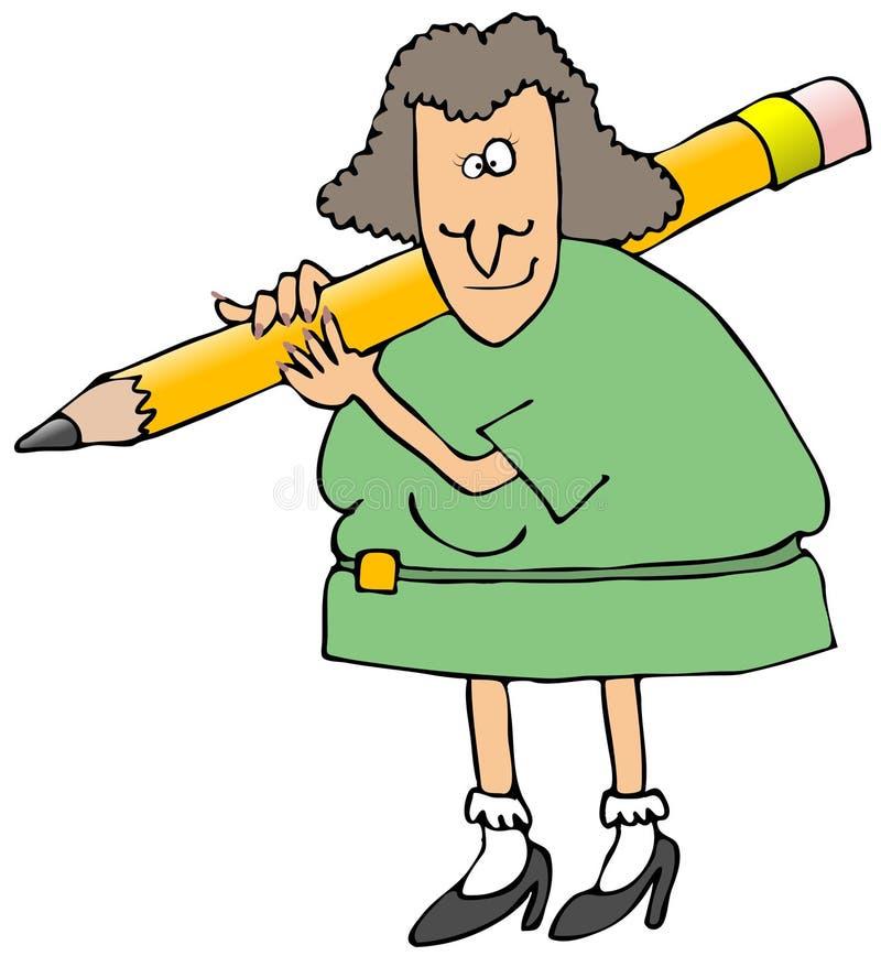 Mujer con un lápiz gigante en su hombro stock de ilustración