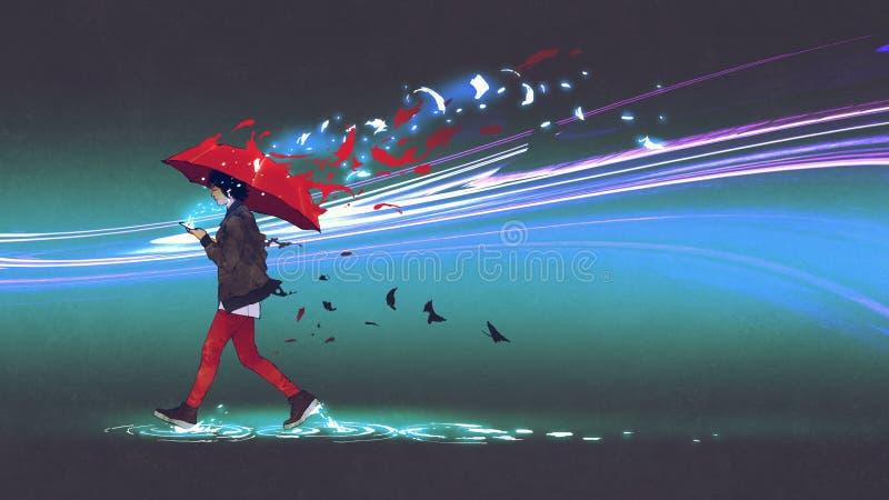 Mujer con un paraguas que camina con la luz libre illustration