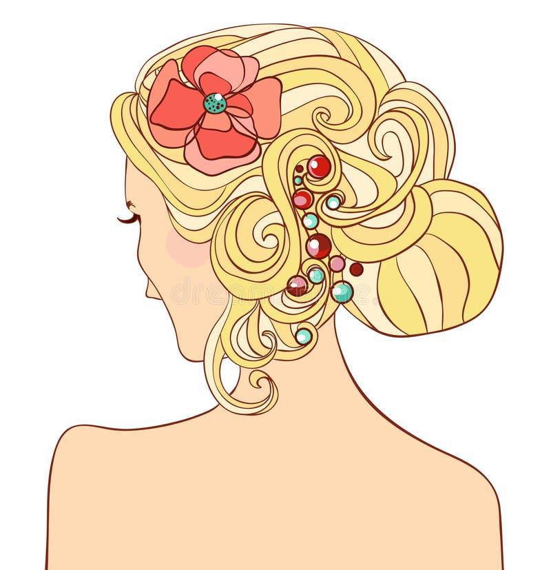 Mujer con un peinado de la boda stock de ilustración