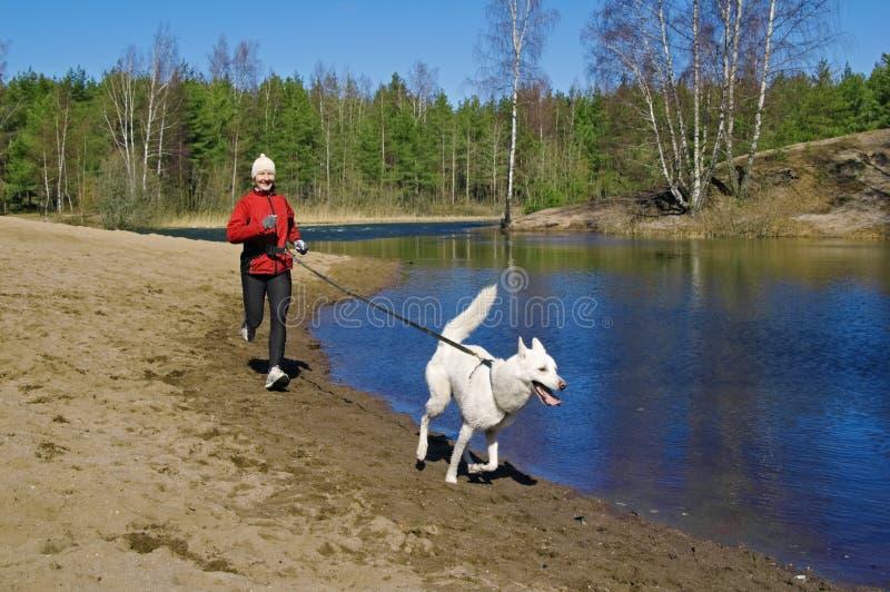 Mujer con un perro funcionado con a lo largo de la costa de los ríos foto de archivo